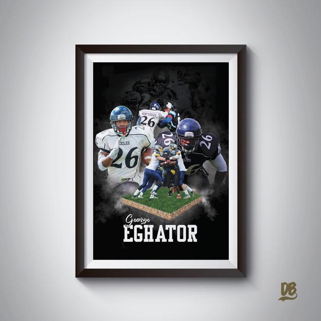 Bespoke poster designed for Kent Exiles player George Eghator