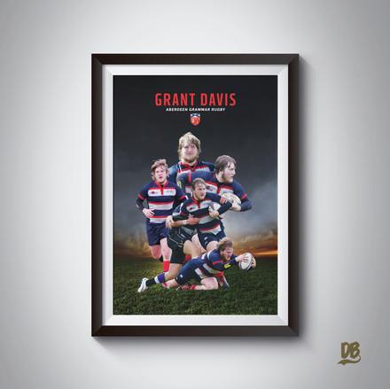 Bespoke poster designed for former Aberdeen grammar rugby player Grant Davis.