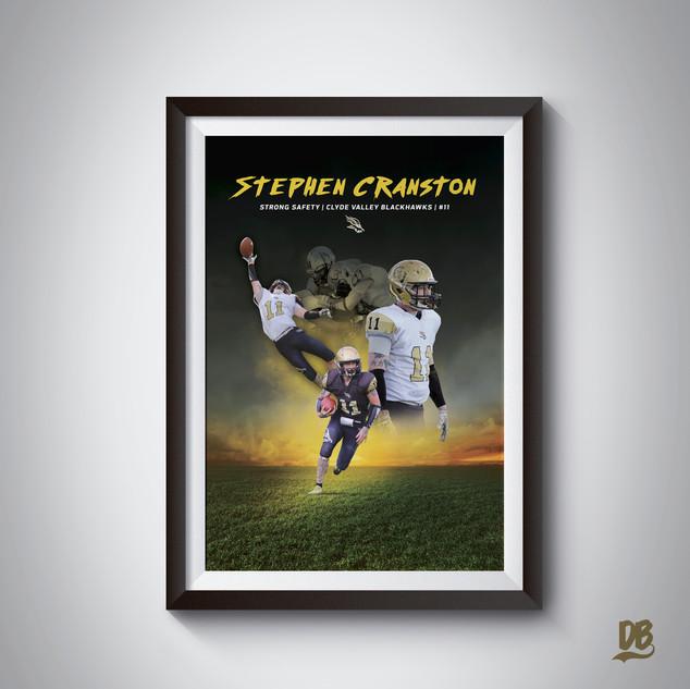Bespoke poster designed for Clyde Valley player Stephen Cranston
