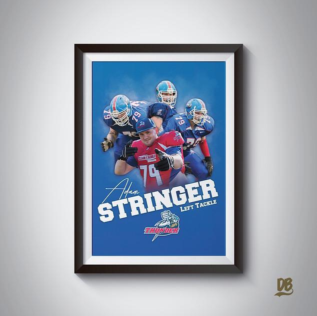 Bespoke poster designed for Sussex Thunder lineman Adam Stringer