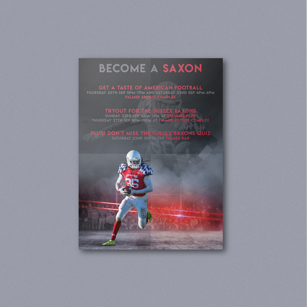 Recruitment and events flyer for the promotion of British American football franchise (University of) Sussex Saxons.