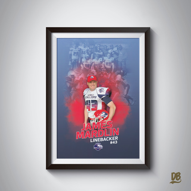 Bespoke poster designed for Wembley Stallions player James Mardlin