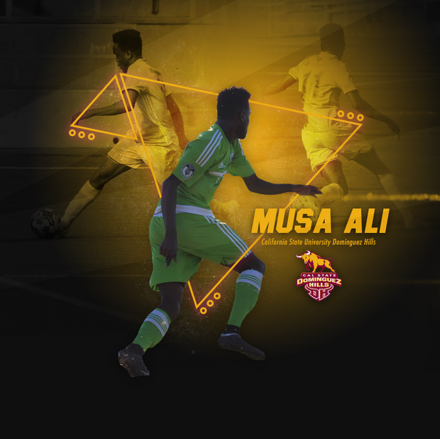 Commitment graphic for California State University Dominguez Hills soccer player Musa Ali