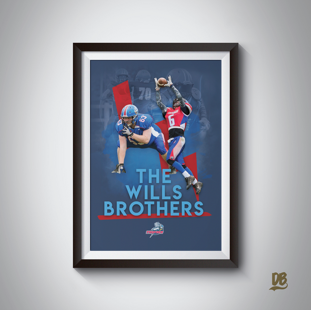 Bespoke poster designed for Sussex Thunder players Steal and Rezz Wills