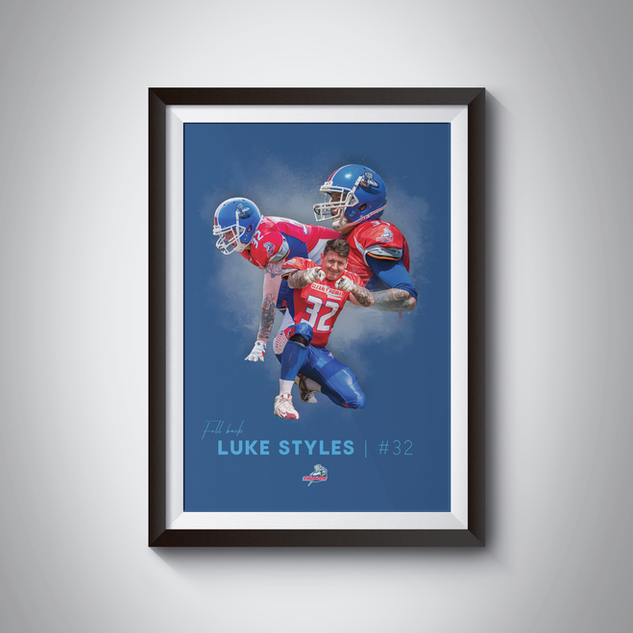 Bespoke poster designed for Sussex Thunder player Luke Styles