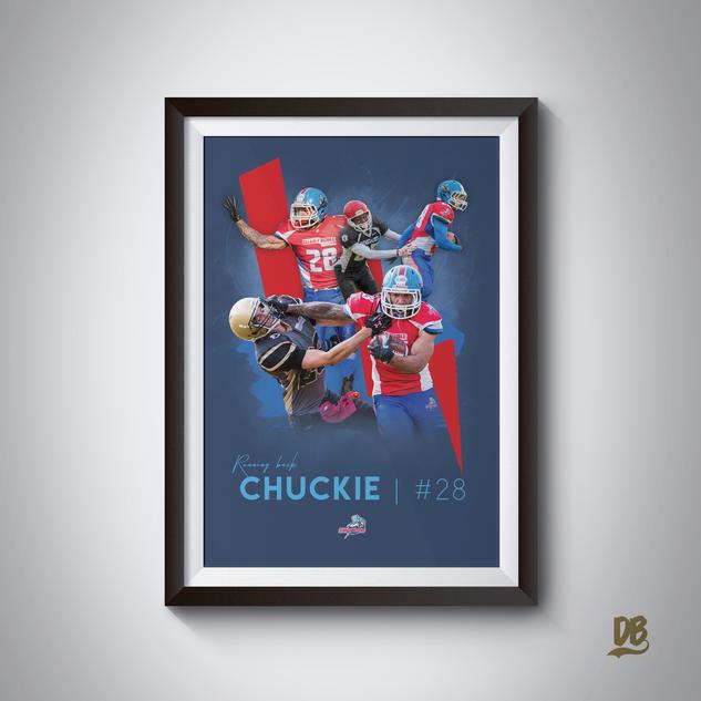 Bespoke poster designed for Sussex Thunder running back Ben Chukwu-Onu