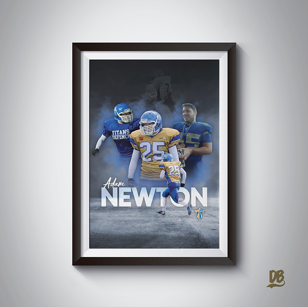 Bespoke poster designed for Manchester Titans player Adam Newton