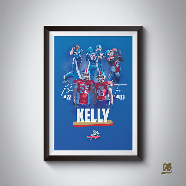 Bespoke poster designed for Sussex Thunder players Ben and Tom Kelly