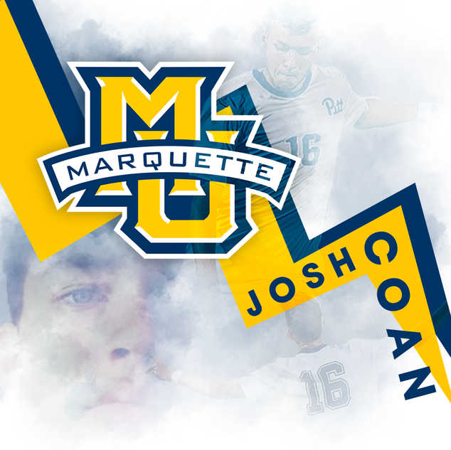 Commitment graphic for Marquette University soccer player Josh Coan