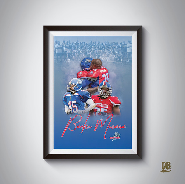 Bespoke poster designed for Sussex Thunder player Bankz Musana
