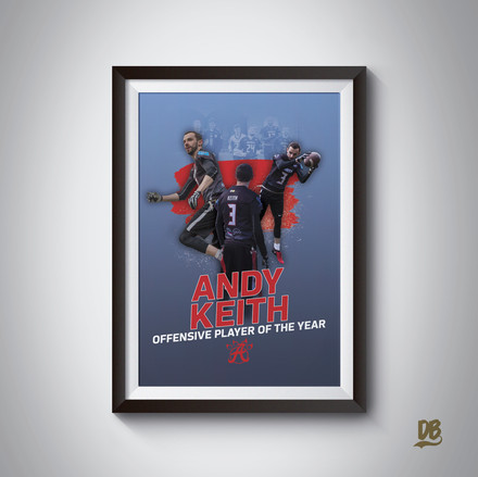 Bespoke poster designed for Aberdeen Oilcats player of the year Andy Keith