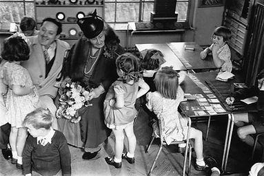 Maria and Mario Montessori in a casa del bambini