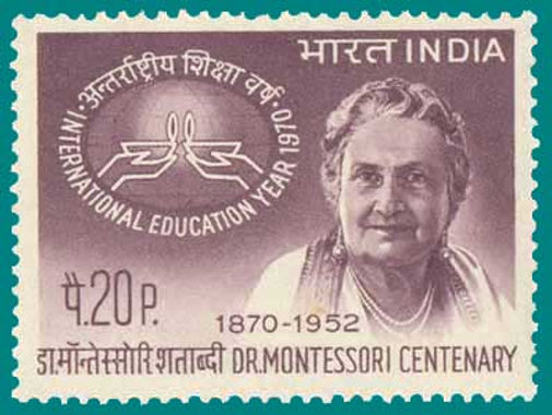Maria Montessori in an Indian postage stamp.