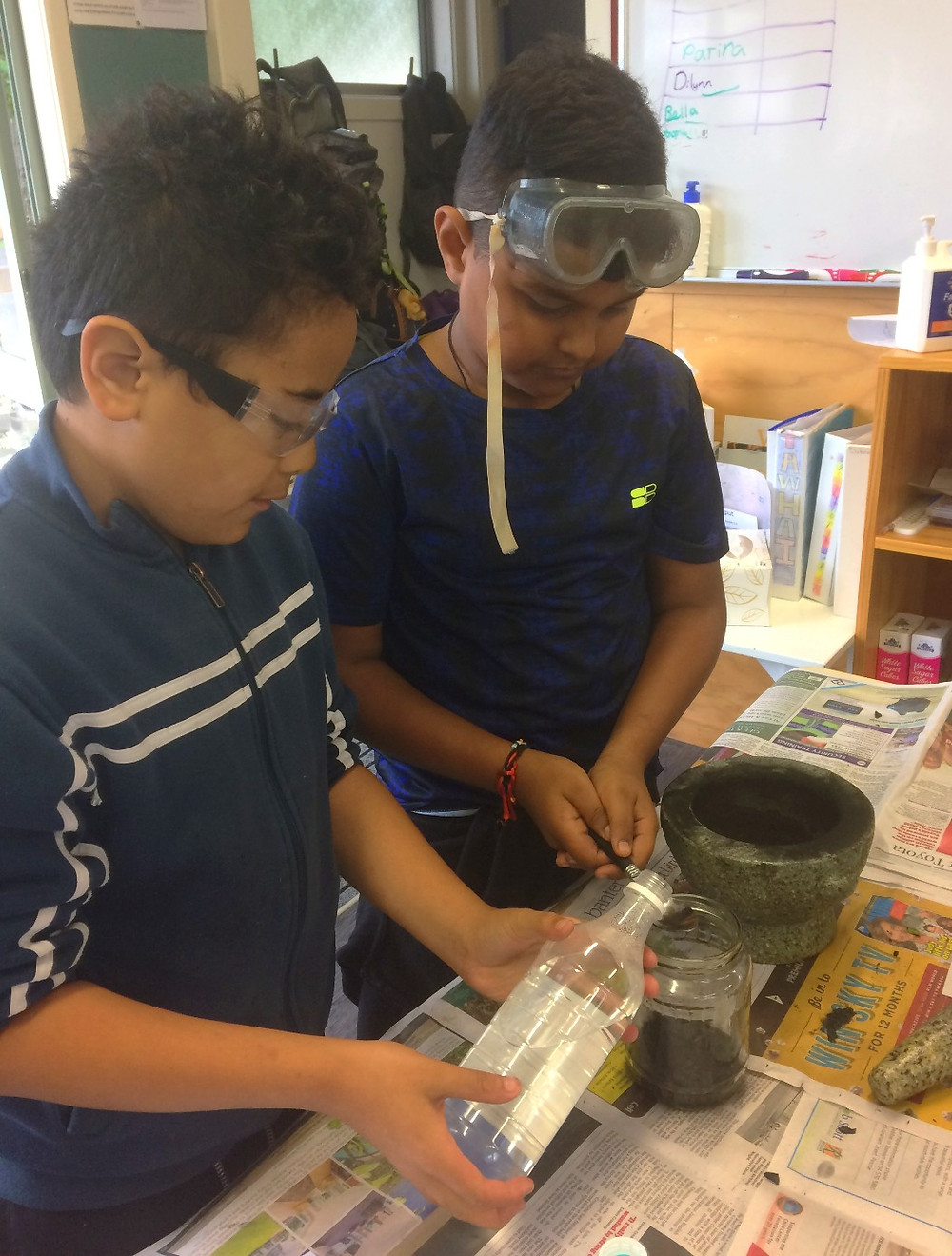 Making charcoal ink in a Montessori classroom