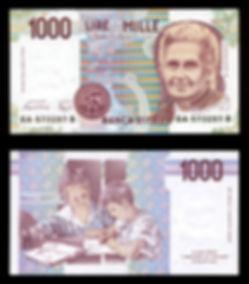 Maria Montessori on a 1000 thousand lire note.