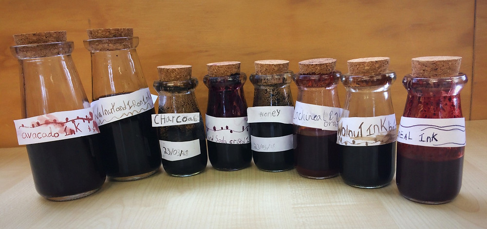 Home made inks in a Montessori classroom