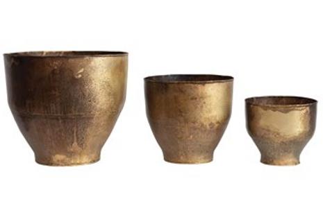 Round Vintage Brass Planters