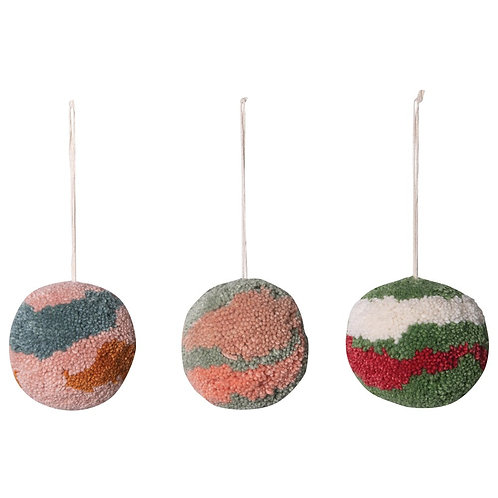 "5"" Round Wool Marbled Pom Pom Ornament"