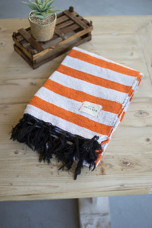 Orange & White Cotton Throw