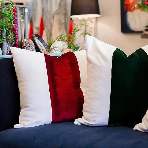 """24"""" Holiday Velvet Stripe Pillow"""