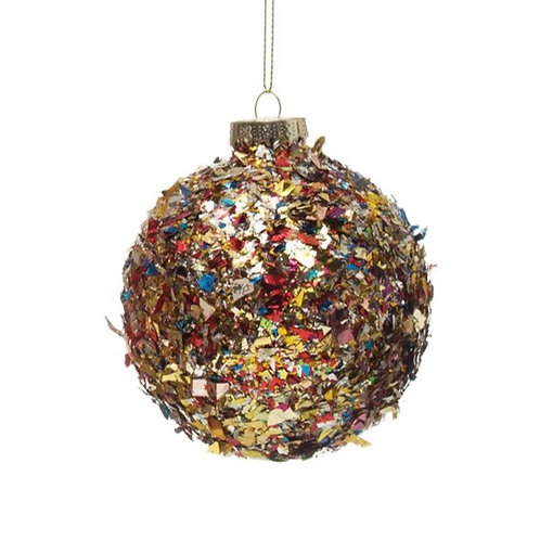 "3"" Glass Ball Ornament w/ Multi Color Confetti"