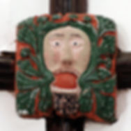Green Man, medieval roof boss, Widecombe Church, Devon
