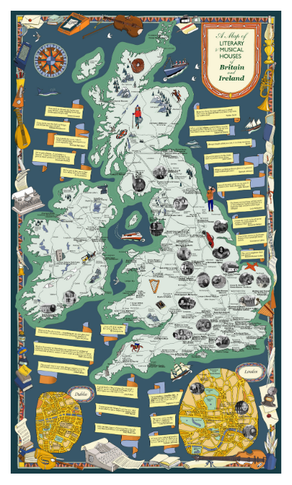 Limited Edition Giclee Map : Literary and Musical Houses Map