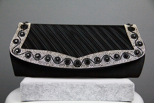 Black Crystal with Rhinestones Clutch Bag