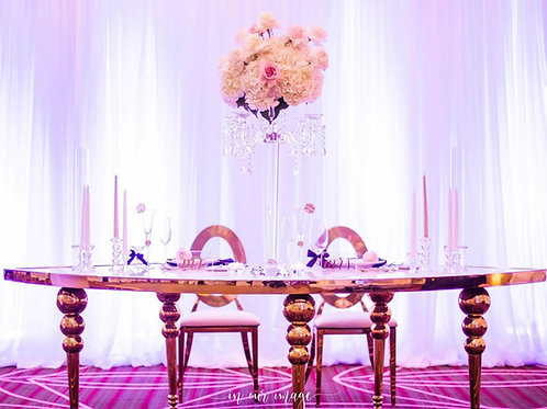 WHITE & GOLD SERPENTINE TABLE
