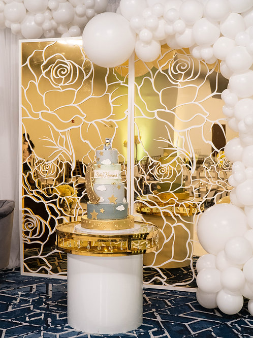WHITE ROSE & GOLD SQUARE WALL