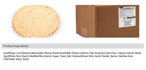 GF Cauliflower crust