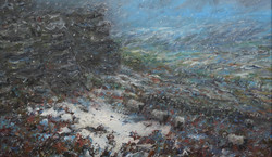 Sheep by snowy edge 60x60cm - Copy