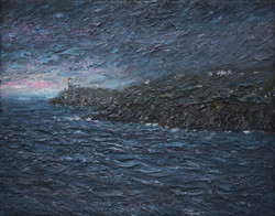 A murky dawn looking towards South stack lighthouse 15x20cm