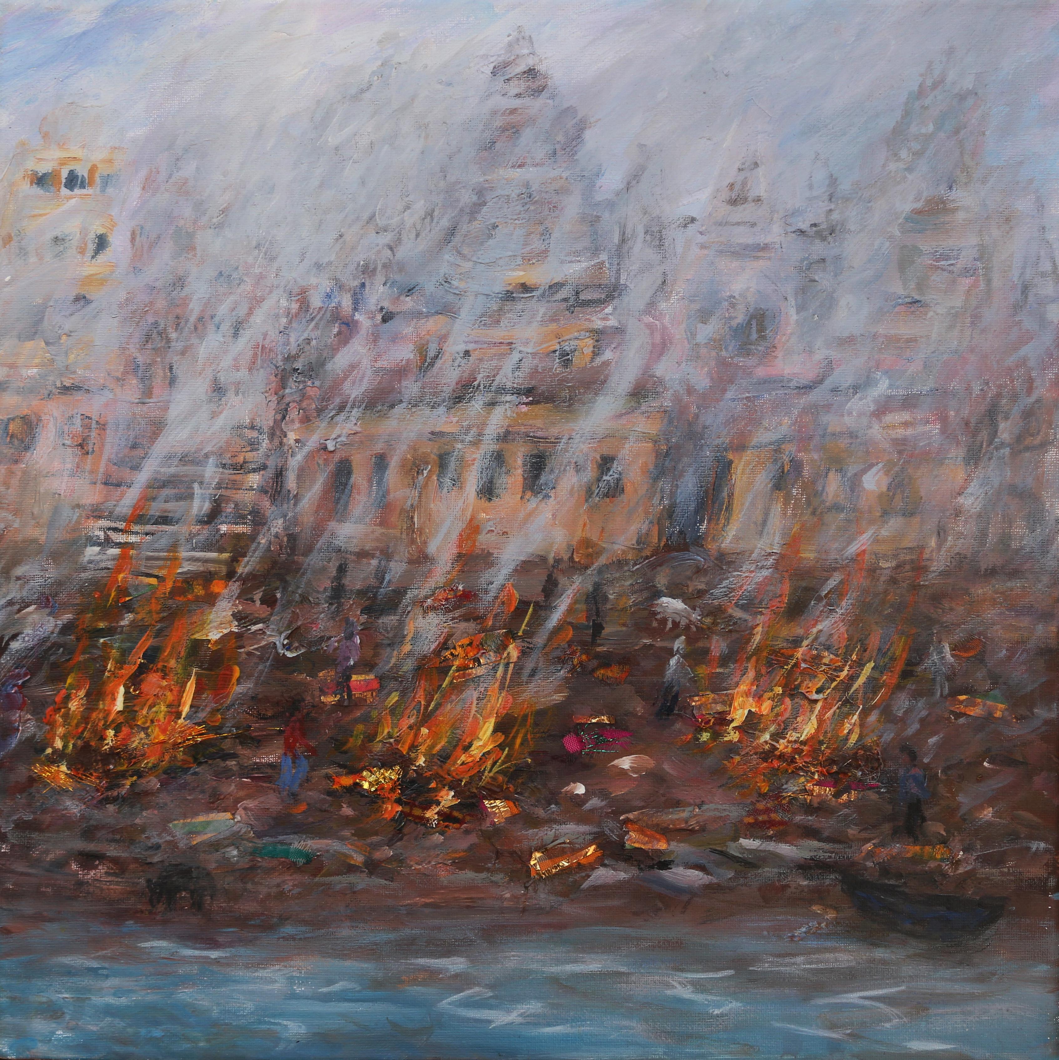 Burning Ghats Varanasi 40x40cm