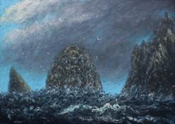 Sea stacks at St Kilda 50x70cm (2)