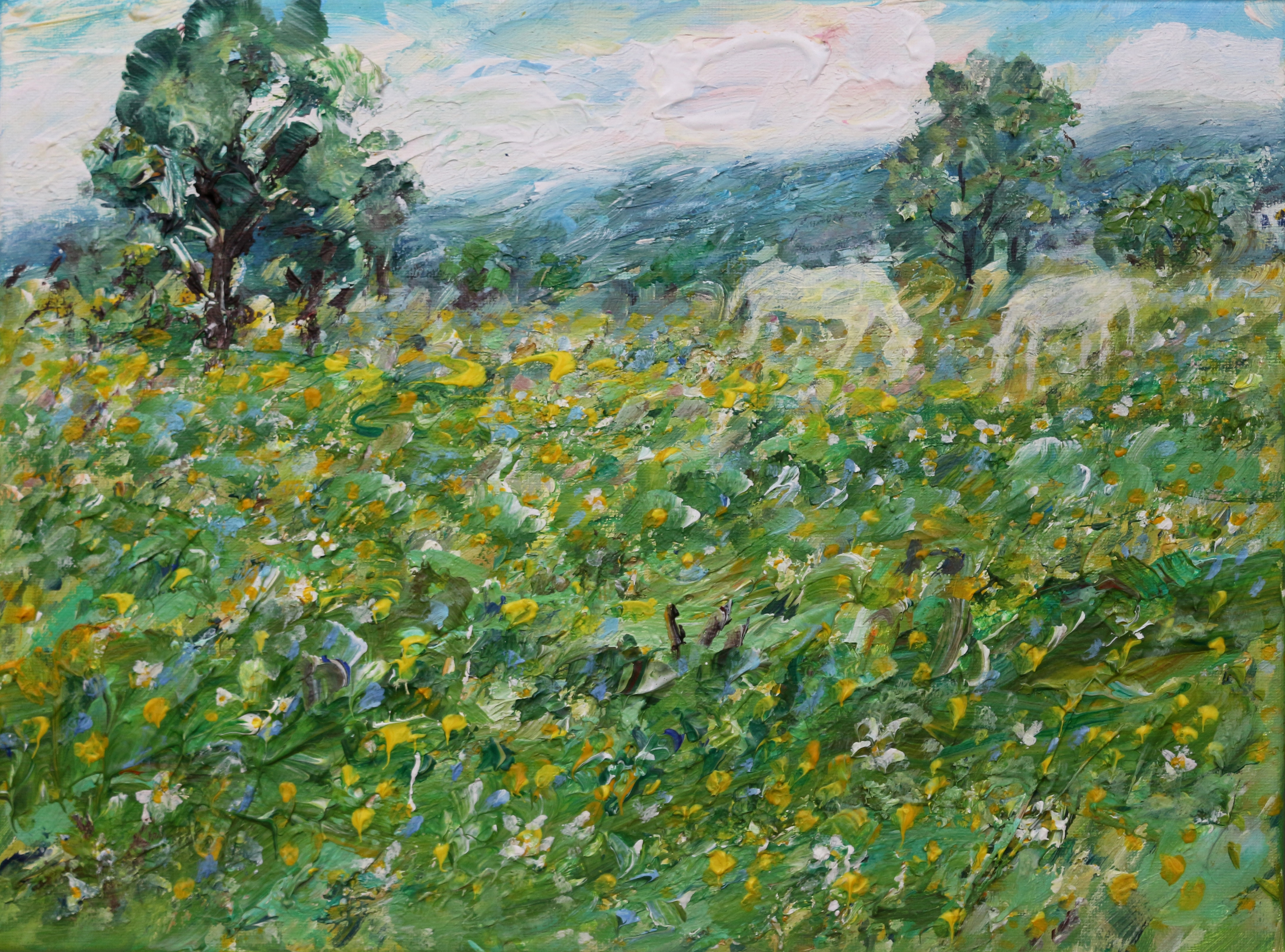 White Ponies in the Meadow 30 x40cm