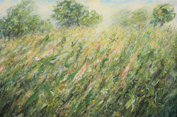 Blustery Meadow with Buttercups and Bees