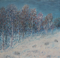 Snowy Birches with Sheep