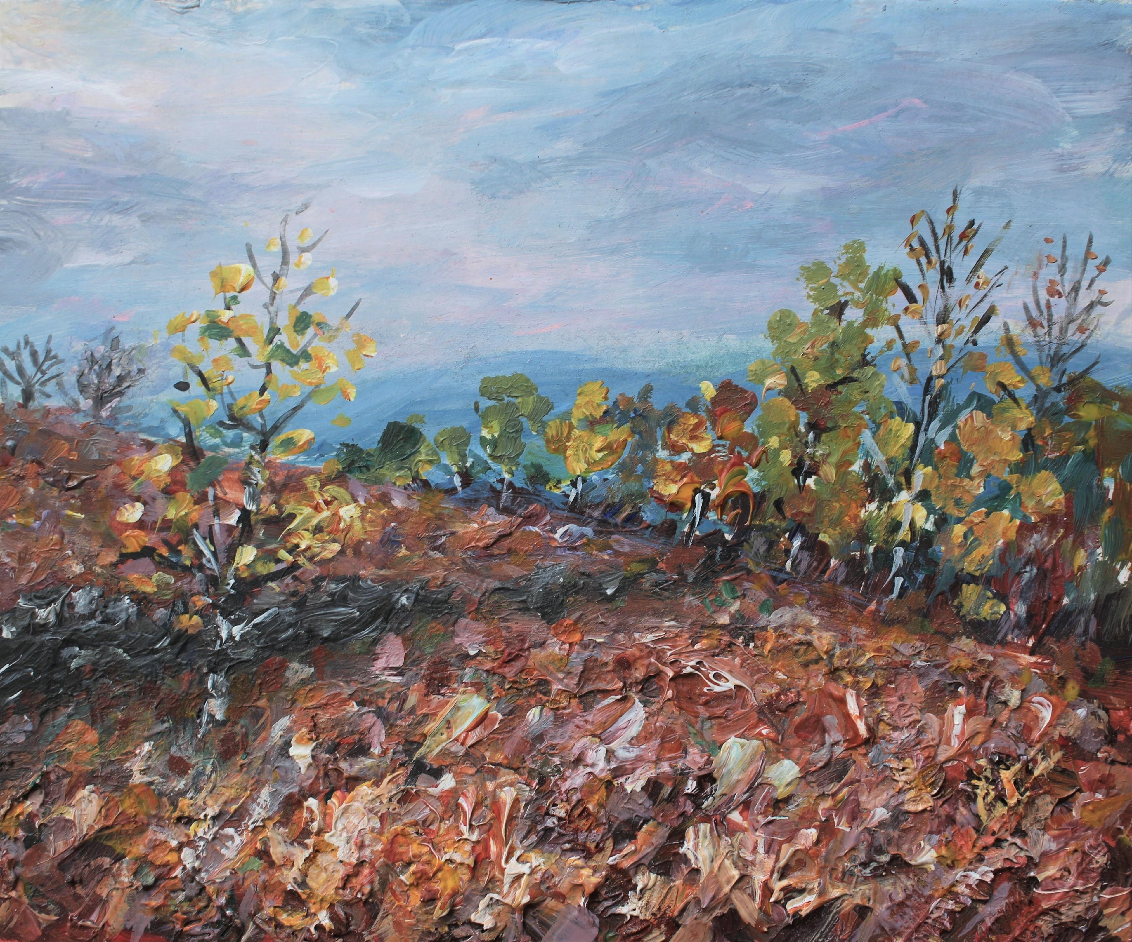 Birches , bracken and blue hills 20x25cm
