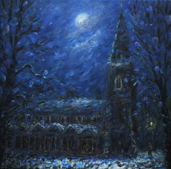 Moon and Snow on Old Glossop Church