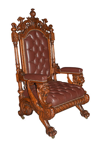 Carved Oak Griffin Arm Chair w/ button Tufted leather