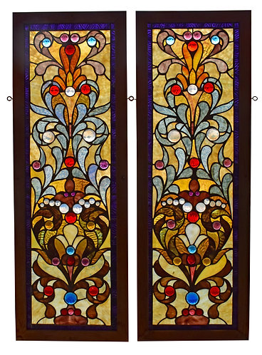 """Pair of Stained Glass Windows 13""""w x 38""""h each"""