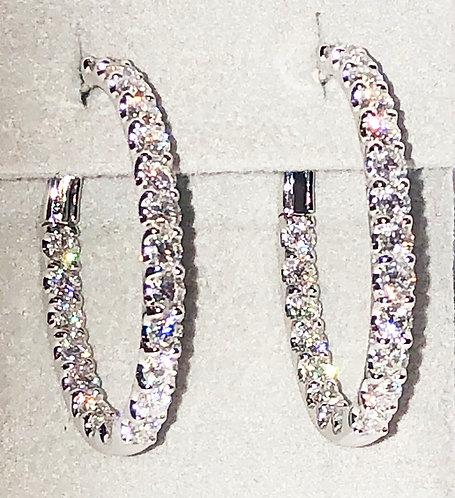 Diamond Hoop Earrings 3.60 cts