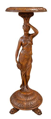 Carved Oak Figural Pedestal