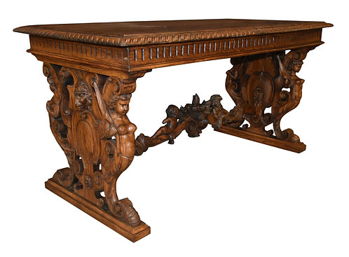 "Carved Oak Library Table 30""h x 60""w"