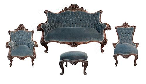 Very Rare, Fine Carved Art Nouveau Parlor Suite by Karpen Furniture Co.