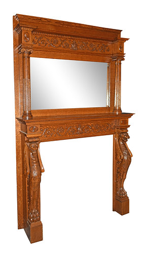 """Carved Oak Mantel w/ Full Standing Griffins 96""""h x 41""""w"""