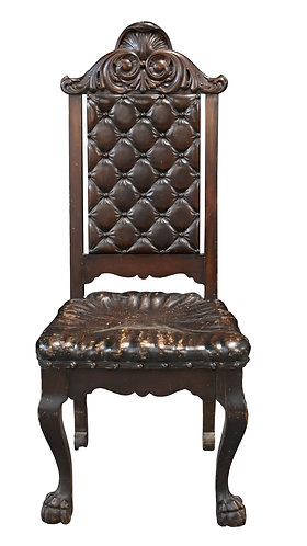 Carved Wood Chair w/ Carved Wood Seat and Back that looks like uph.