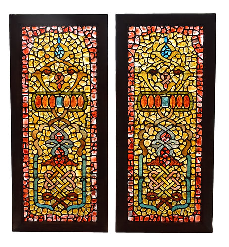 """Outstanding Pair of Chunk Jewel Leaded Glass Windows 22""""w x 51""""h each"""