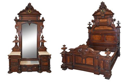 Outstanding Mint Condition Original Finish Renaissance Walnut 2 Pc Bedroom Suite